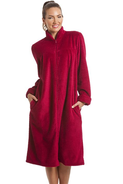 robe de chambre fermeture 馗lair femme fleece berry zip front house coat