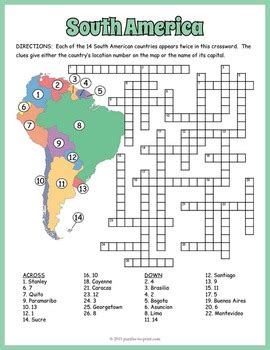 printable africa puzzle south america geography crossword puzzle by puzzles to