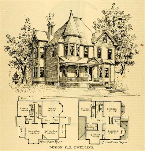 victorian blueprints 1891 print home architectural design floor plans victorian