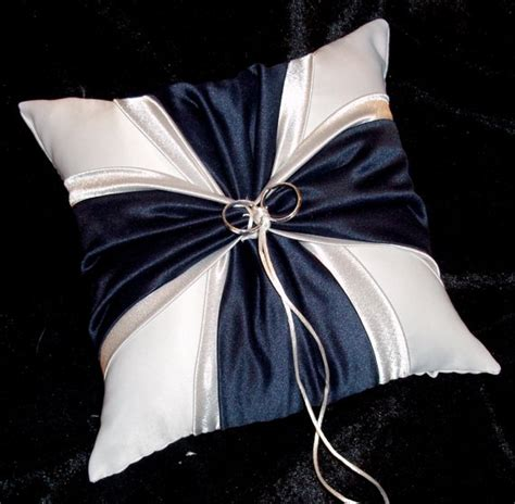 Navy Blue Ring Bearer Pillow - navy blue and silver white or ivory wedding ring bearer