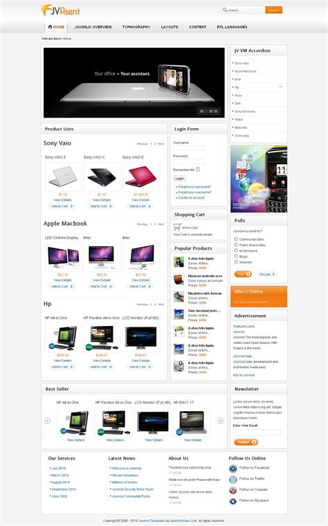 jv asent premium joomla shopping cart template from