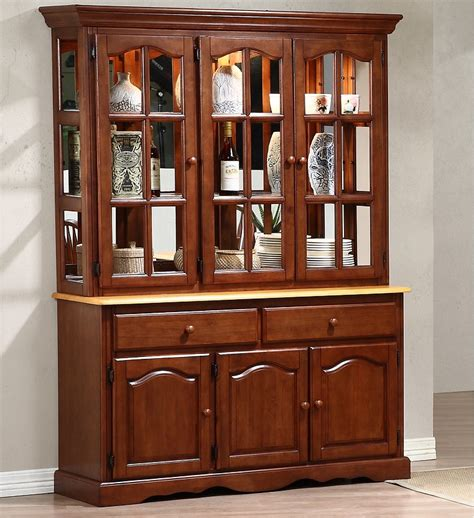 sunset trading treasure buffet and lighted hutch in nutmeg