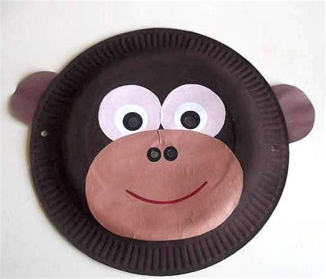 monkey paper plate craft crafts animal masks