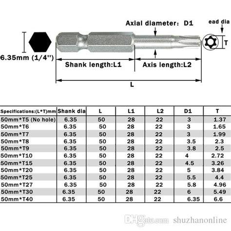 2019 50mm T5 T40 Hex Shank Torx Head Screwdriver Bits 1 4