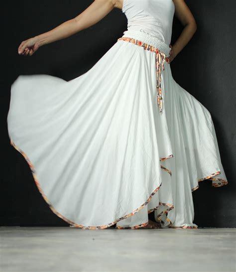 Handmade Skirts - circle skirt handmade maxi skirt white skirt