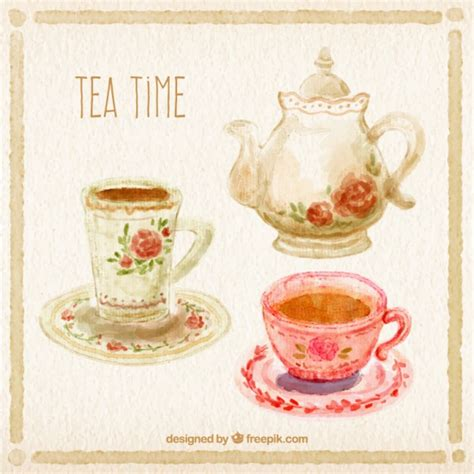 a for all time tea set painted tea time vector free