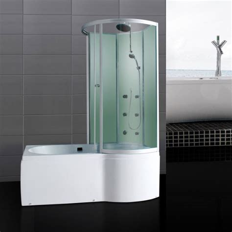 p shaped shower baths p shaped shower bath with jets glass enclosure front end panels waste ebay