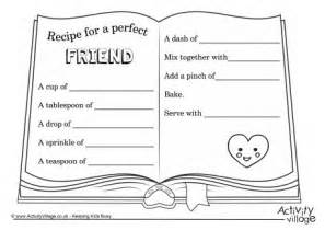 recipe for friendship template recipe for a friend