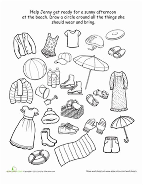 clothes for different seasons worksheet what to wear to the beach worksheet education com