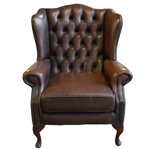 tufted leather recliner chair tufted leather wing chair for sale at 1stdibs