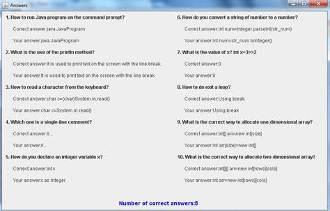 quiz css layout answers java programs quiz program