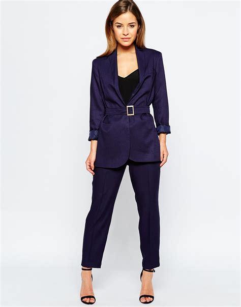 Belt Blazer lyst asos premium longline suit blazer with belt in blue