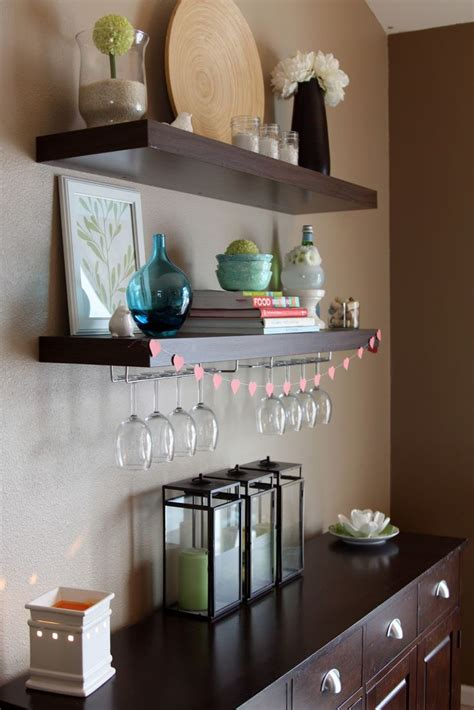 dining room wall shelves the shelf is from ikea with wine glass holder this is a
