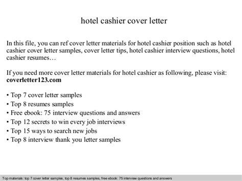 cover letter for a cashier position hotel cashier cover letter