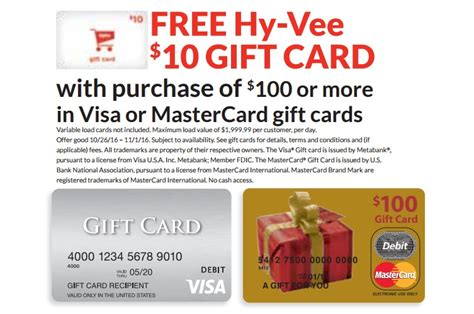 Hy Vee Gift Card Special - 10 hy vee supermarkets gc when you purchase 100 visa mc gift card danny the deal guru