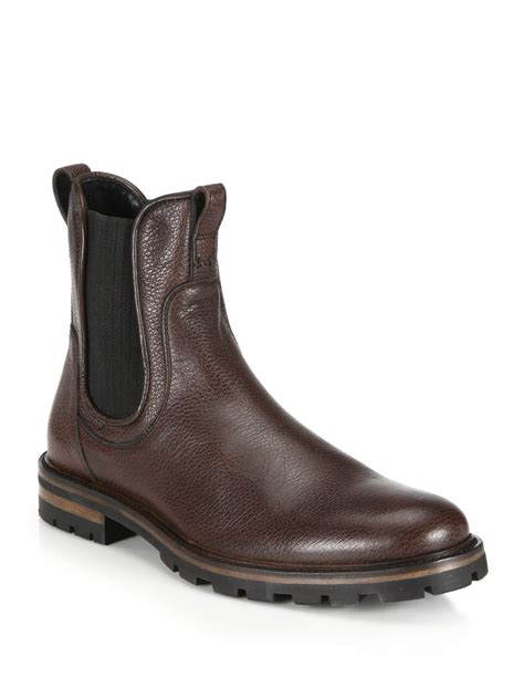 aquatalia pebbled leather chelsea boots in brown for