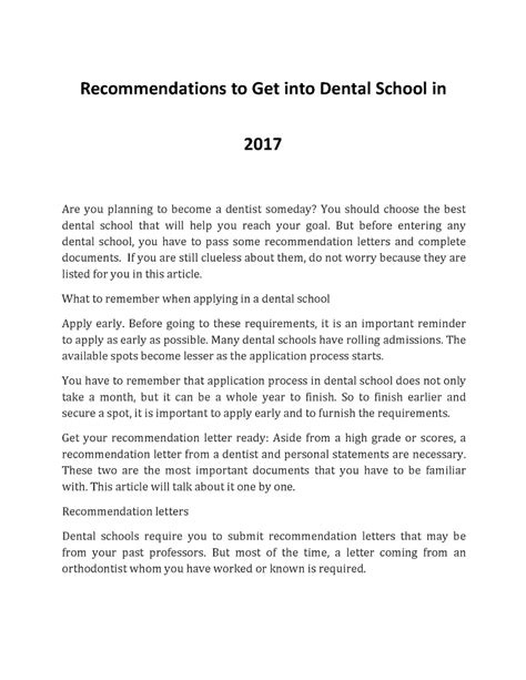Sle Letter Of Evaluation Dental School how to get into dental school in 2017 authorstream