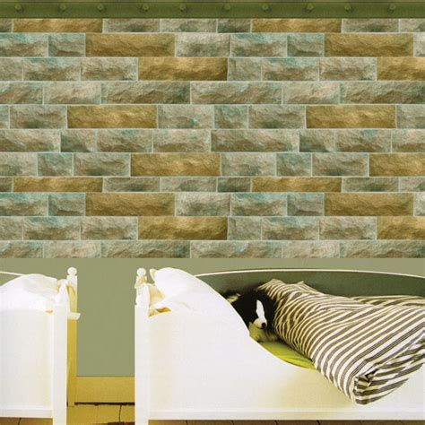 wallpaper self adhesive green and brown stone brick self adhesive wallpapers