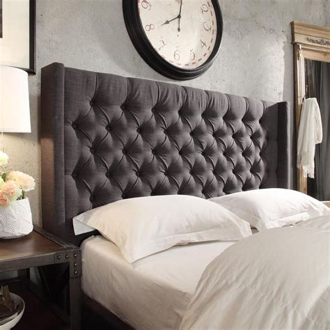 Tufted Headboard Bed Naples Wingback Button Tufted Linen Fabric Size Headboard By Signal Ebay