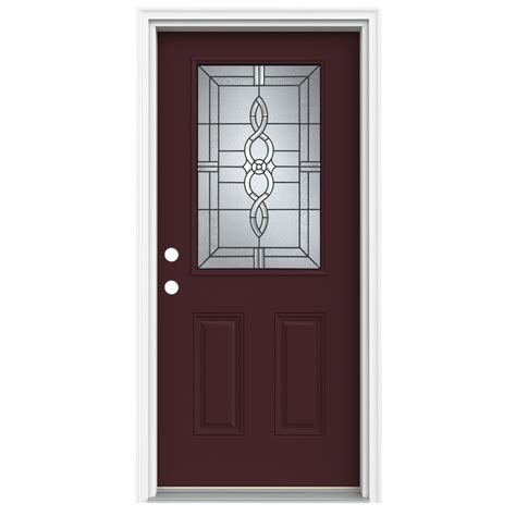 Prehung Fiberglass Exterior Doors Shop Reliabilt Half Lite Decorative Currant Prehung Inswing Fiberglass Entry Door Common 36 In