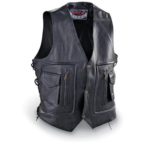 biker jacket vest mas band collar leather biker vest with liner 167421
