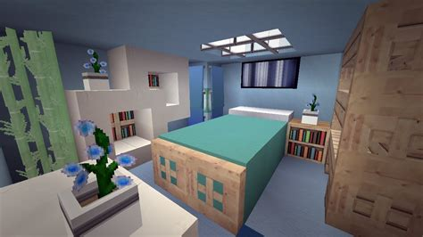 awesome minecraft bedrooms minecraft modern cool blue bedroom design youtube