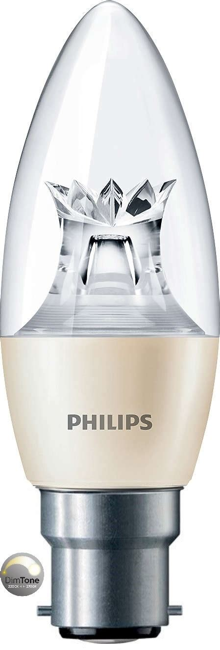 philips master led candle 6w 40w b22 clear dimtone
