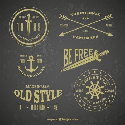 retro emblem tattoos vector free download