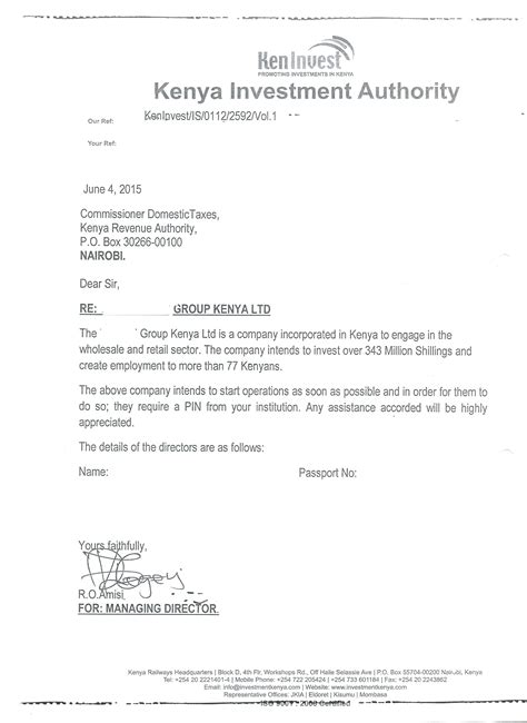 Endorsement Letter Us Visa Eregulations Kenya