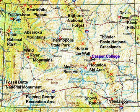physical map of wyoming wyoming map and wyoming satellite images