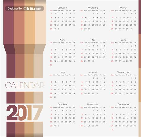 Calendario 2018 Illustrator 2017 2018 2019 Calendar Template Vector Cdrai