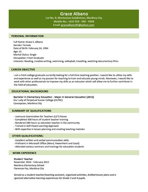 simple resume sles for fresh graduates sle resume format for fresh graduates two page format jobstreet philippines