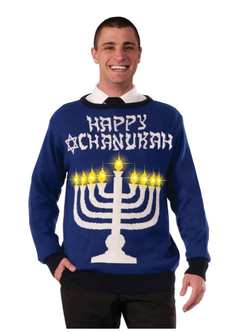 mens light up holiday sweater ugly chanukah light up menorah sweater general category