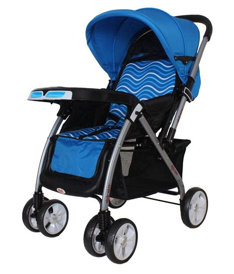 baby pram stroller jet wave blue with reversible