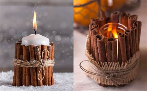 weihnachtsdekoration fenster selber machen weihnachtsdeko selber machen kerze mit zimtmantel zum basteln