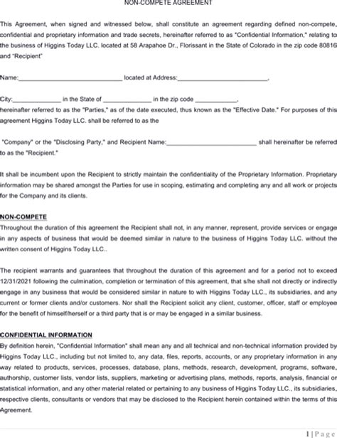 insurance agreement template sle insurance non compete agreements for free