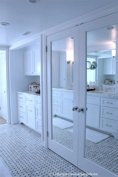 bathroom door mirrors mirrored doors traditional bathroom classic casual home
