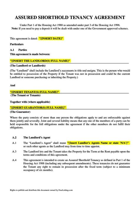 free assured tenancy agreement template assured tenancy agreement template