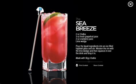 sea breeze cocktail recipe adult beverages pinterest