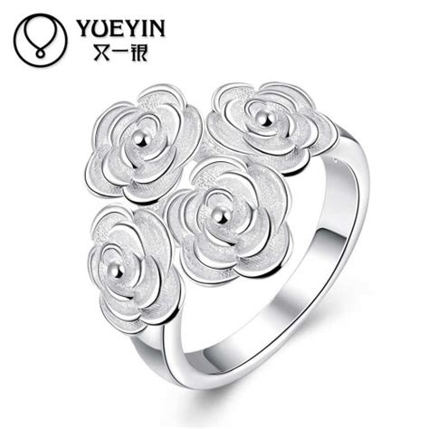 Exquisite New Glow In The Silver Color Ring Vintage T2909 silver plated exquisite beautiful flower new design finger ring