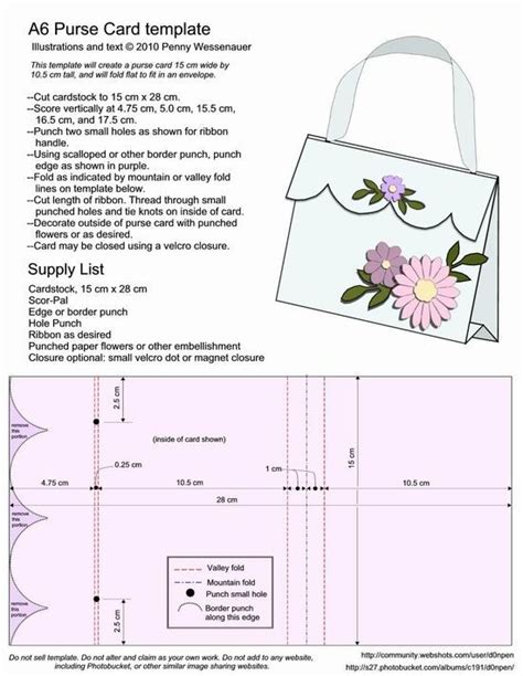 Handbag Template For Card by A6 Purse Card Template Bjl Freedigis