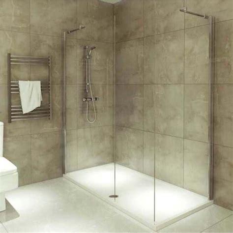 beige textured wall design with corner walk in shower unit