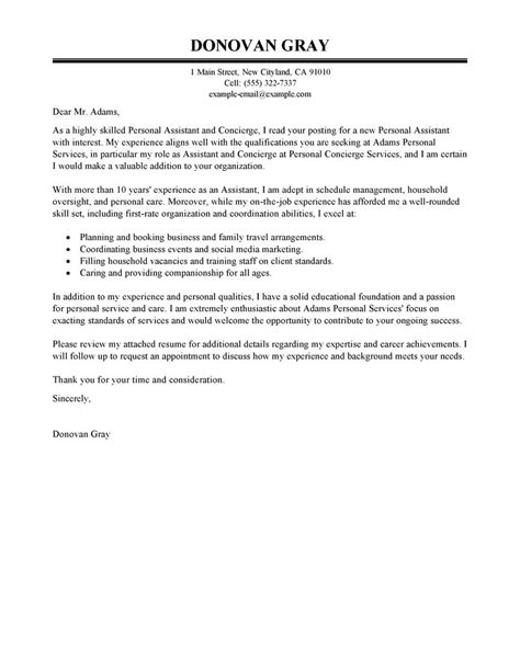 best personal services cover letter exles livecareer