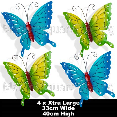 metal garden wall outdoor butterflies x 4pcs large coloured outdoor metal