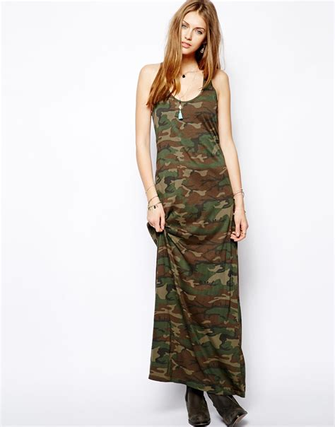 Green Tiger Dress 1 ralph camouflage maxi dress in green lyst