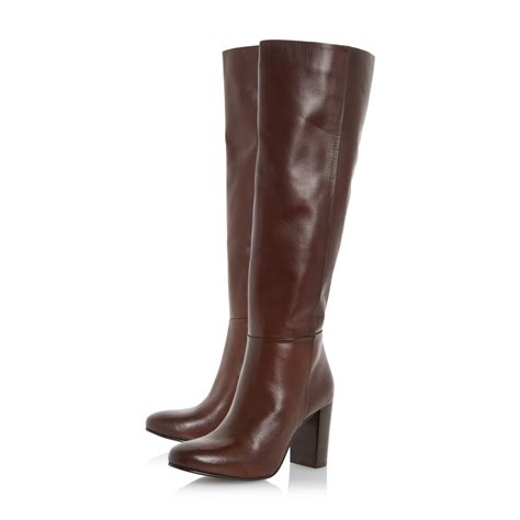 high heel brown leather boots dune siena block heel leather knee high boots in brown lyst