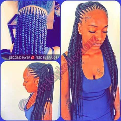 feeder braids 3 layers | hair styles | pinterest