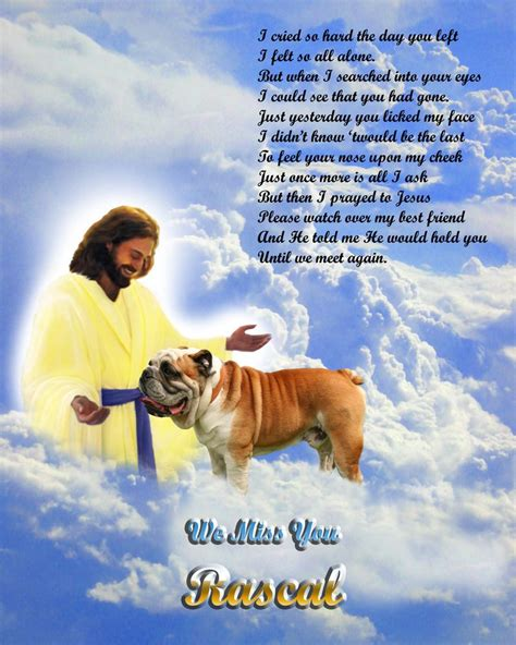 pets in heaven gift for owners bulldog memorial w jesus poem personalized w pet s name unique gift cvs only pet loss and
