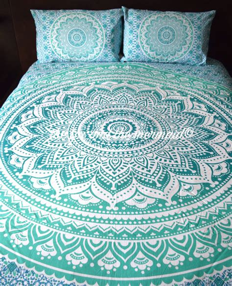 mandala bed sheets green ombre mandala tapestry bed sheet pillow cases
