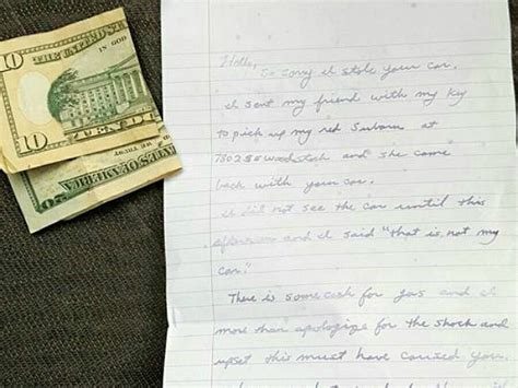 Apology Letter Car Surprised When Stolen Car Is Returned With Apology Note Gas Money Breitbart